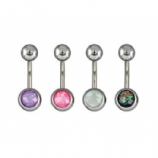 Synthetic Opal Belly Piercing Bar