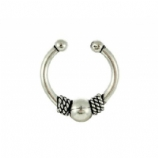 Tiny Rope and Ball Style Sterling Silver Fake Septum Ring