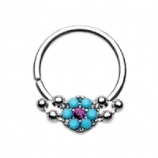 Turquoise Floral Inlay Bendable Surgical Steel Seam Ring