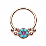 Rose Gold Turquoise Floral Inlay Bendable Surgical Steel Seam Ring