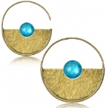 Brass & Turquoise Gem Textured Disc Circle Boho Hoop Ear Rings - Pair