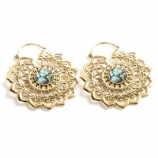 Brass Lotus Mandala Abalone Inlay Hoop Ear Rings - Pair
