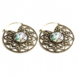 Brass Antique Abalone Inlay Mandala Hoop Ear Rings - Pair