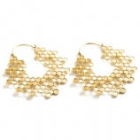 Brass Hex Honey Comb Hoop Ear Rings - Pair