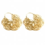 Brass Huge Mandala Flower Of Life Hoop Ear Rings - Pair