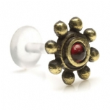 Brass Garnet Stone Bead Design Push-Fit Flexi Micro Labret