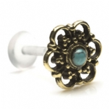 Brass Turquoise Ornate Floral Bead Design Push-Fit Flexi Micro Labret