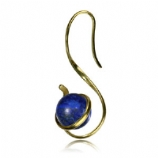 Brass Swirl Twist With Lapis Lazuli Stone Ball