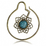Brass Ear Weight - Flower with Turquoise - 1.6mm