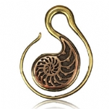 Ammonite Fossil Spiral - Brass Ear Weight - 4mm