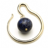 Spiral Yellow Brass Ear Weight - Lapis Lazuli Ball Dangle - 4mm or 6mm