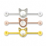 Cat Face Crystal Scaffold Industrial Barbell
