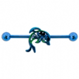 Blue Crystal Dolphin Scaffold Barbell