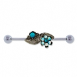 Opal Daisy and Leaf Scaffold Industrial Barbell