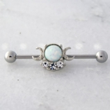 Moon Goddess Crescent Moon White Opal Industrial Scaffold Barbell