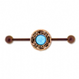 Bronze Anodised Blue Opal Scaffold Barbell