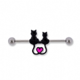 Cute Cat and Heart Scaffold Barbell