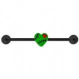 Stitched Green Zombie Heart Scaffold Barbell