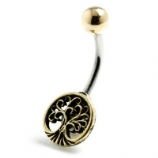 Brass Tree of Life Belly Bar