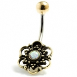 Brass Filigree Flower and Opal Stone Belly Bar