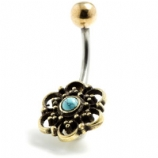 Brass Filigree Flower and Turquoise Stone Belly Bar