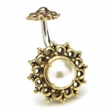 Brass Filigree and Pearl Shield Belly Bar
