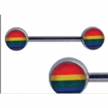 Rainbow Flag Gay Pride Forward Facing Logo Nipple Bar