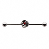 Small Rose Red Crystal Scaffold Barbell