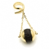 Brass Twist Ear Weight - Lava Rock Ball Drop Dangle