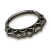 Ornate Lace Pattern Daith Piercing Clicker Black Steel Hinged Segment Ring