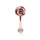Rose Gold 3D Rose Curved Micro Barbell - 1.2mm