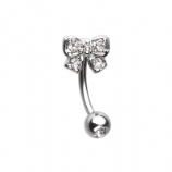 White Crystal Bow 1.2mm Curved Barbell