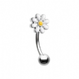 White Enamel Daisy Curved Micro Barbell - 1.2mm