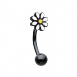 Black Enamel Daisy Curved Bar