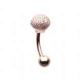 Rose Gold Sea Shell Curved Micro Barbell - 1.2mm
