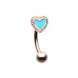 Rose Gold Enamel Heart Curved Micro Barbell - 1.2mm