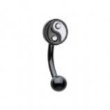 Enamel Yin Yang Curved Micro Barbell - 1.2mm