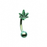 Green 3D Hash Leaf 1.2mm Curved Barbell Piercing Bar