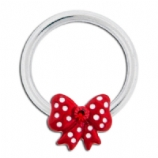 Red Polka Dot Bow BCR Ball Closure Ring