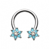 Double Turquoise Flower Daith Piercing Horseshoe Ring