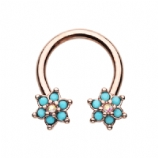 Rose Gold Double Turquoise Flower Daith Piercing Horseshoe Ring