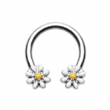 Double White Daisy Flower Daith Piercing Horseshoe Ring