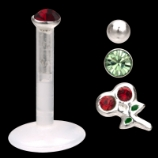 Value Pack Push Fit Bio Flex Lip Stud - 1.2mm - 4 designs in one pack! Red Gem , Green Gem, Cherry & Plain