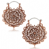 Copper Mandala Boho Hoop Ear Rings - Pair