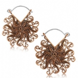 Copper Flower Swirls Boho Hoop Ear Rings - Pair
