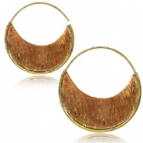 Copper and Brass Disc Circle Boho Hoop Ear Rings - Pair