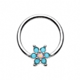 Turquoise Petal Flower AB Centre Ball Closure Ring