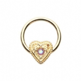Gold Ornate Opal Heart Steel Captive Bead Ring BCR