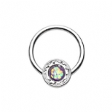 Ornate Round Opal Stone and Petals Steel Captive Bead Ring BCR