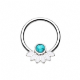 Turquoise Stone and Petals Steel Captive Bead Ring BCR